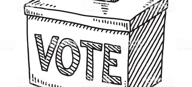 Hand-drawn vector drawing of a Vote Ballot Box. Black-and-White sketch on a transparent background (.eps-file). Included files are EPS (v10) and Hi-Res JPG.